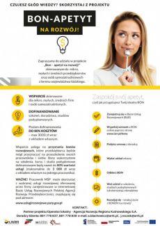 Bon - Apetyt na rozwój - to projekt Łódzkiej Agencji Rozwoju Regionalnego  skierowany do mikro, małych iśrednich przedsiębiorstw