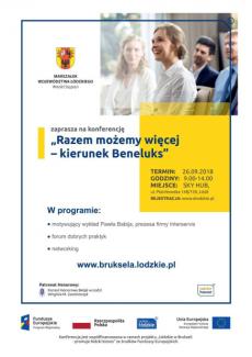 Plakat - Weź udział wkonferencji - Razem możemy więcej – kierunek Beneluks
