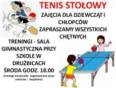 Zaproszenie na bezpłatne zajęcia tenisa stołowego