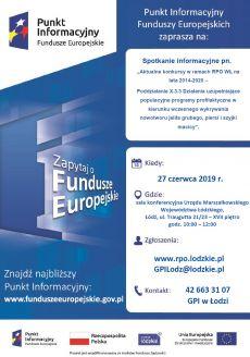 Główny Punkt Informacyjny Funduszy Europejskich wŁodzi zaprasza do udziału wbezpłatnym spotkaniu informacyjnym